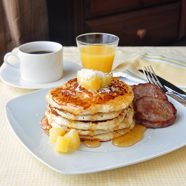 Pina Colada Pancakes with Vanilla Rum Syrup Recipe