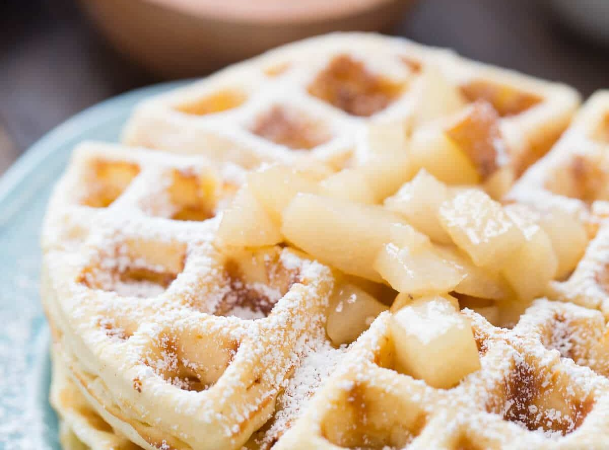 Browned Butter Waffles with Spiced Pear Topping Recipe