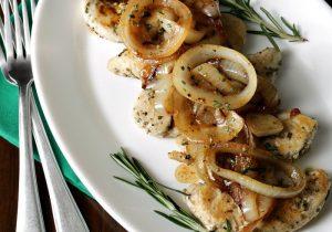 Rosemary Chicken with Sauteed Onion Wine Sauce Recipe