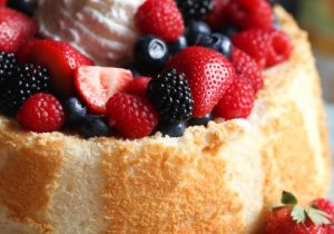 Angel Food Cake with Wine Soaked Berries Recipe