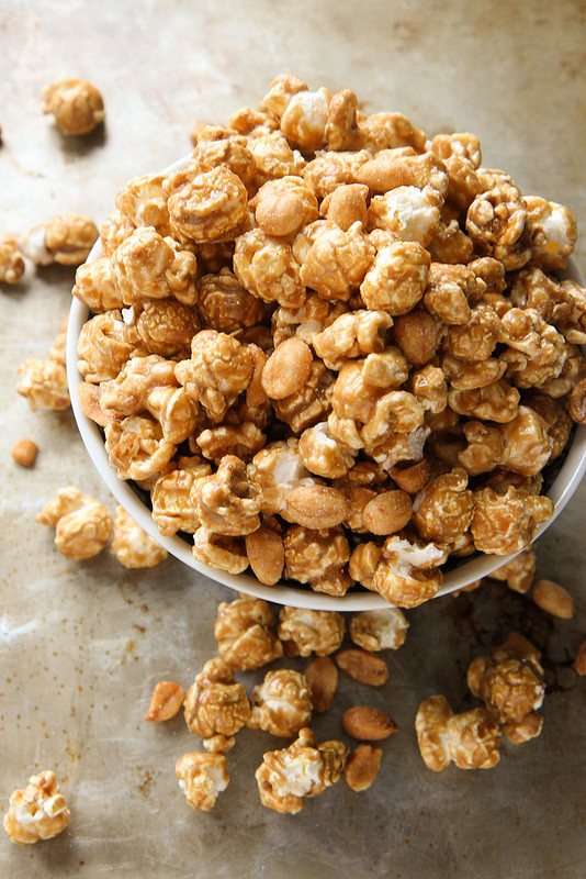 Bourbon Caramel Corn with Honey Roasted Peanuts Recipe