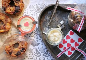 Donut Bread Pudding with Rum Butter