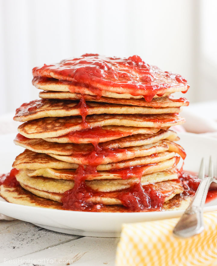 Gluten Free Pancakes with Smashed Strawberry Champagne Sauce Recipe