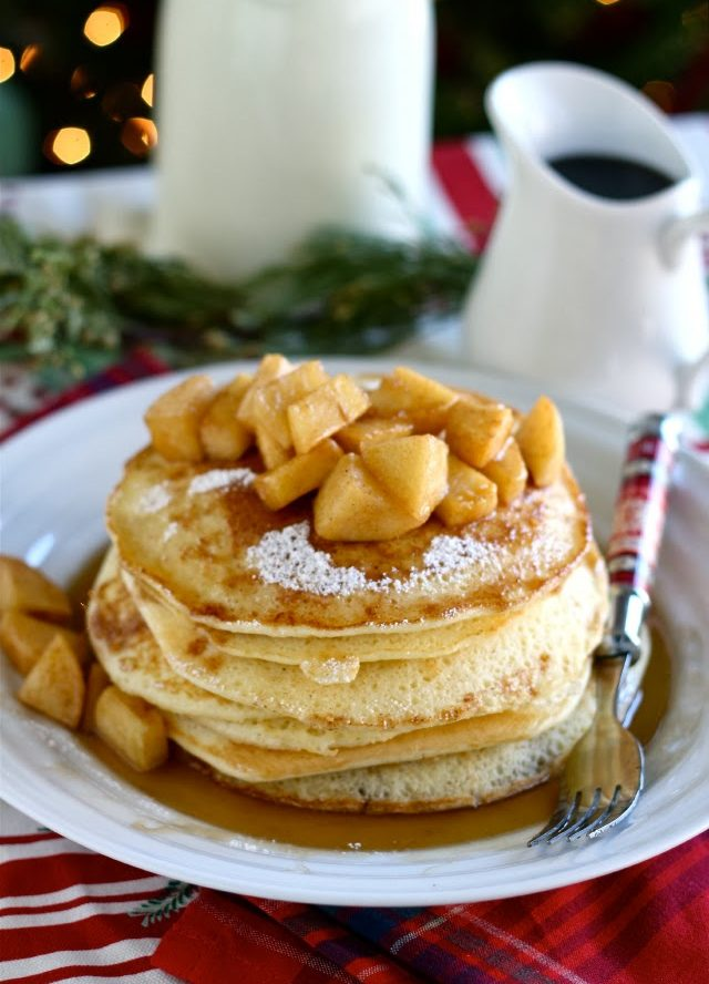 Lemon Ricotta Pancakes with Hot Buttered Rum Apples Recipe
