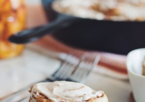 Vegan Cinnamon Rolls with Spiced Whiskey Peaches Recipe