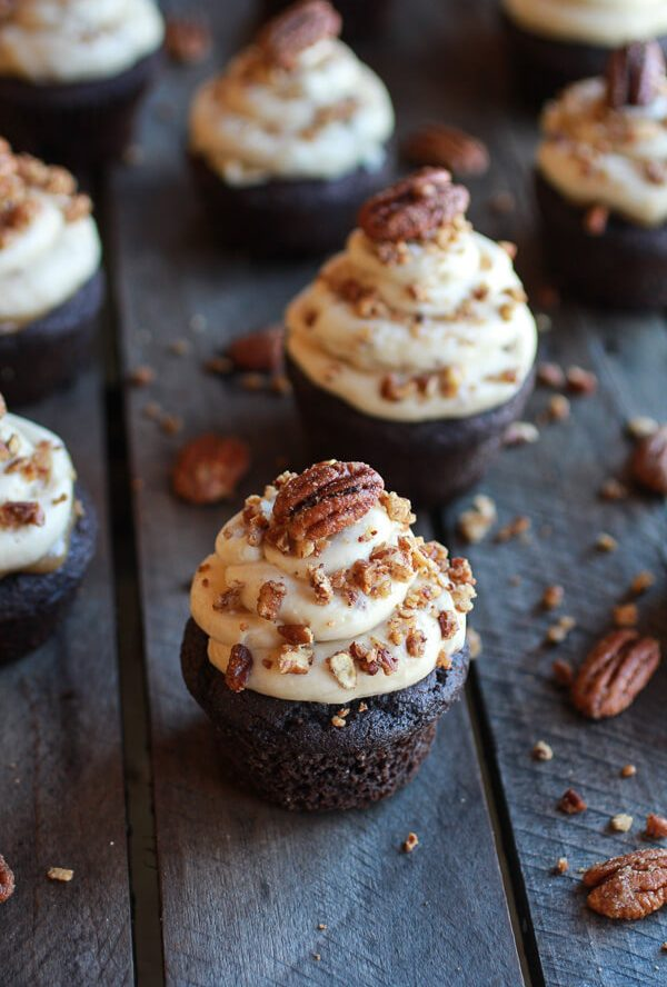 Chocolate Bourbon Pecan Pie Cupcakes with Butter Pecan Frosting Recipe