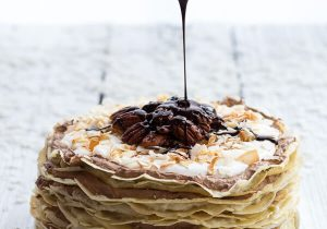 Toasted Coconut Cream Rum and Chocolate Mousse Crepe Cake Recipe