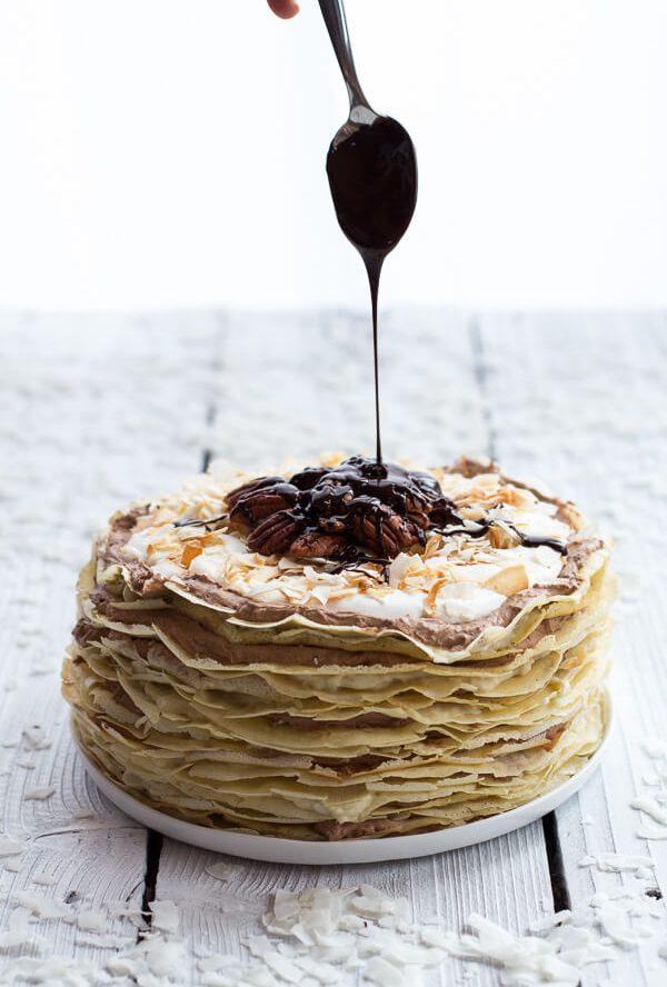 Toasted Coconut Cream Rum and Chocolate Mousse Crepe Cake Recipe