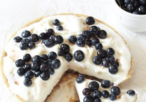 Frozen Yogurt Pie with Boozy Blueberries Recipe