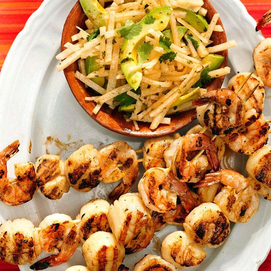 Grilled Drunken Shrimp and Scallop Skewers Recipe