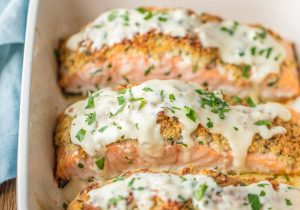 Parmesan Crusted White Wine Dijon Salmon Recipe