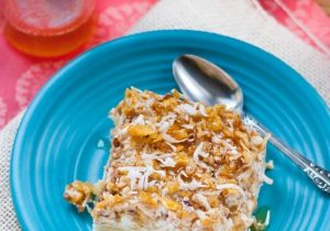 Pina Colada Fried Ice Cream with Honey Rum Drizzle Recipe