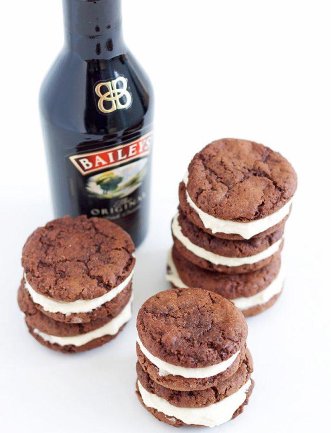 Fudgey Chocolate Kahlua Cookies with Baileys Buttercream