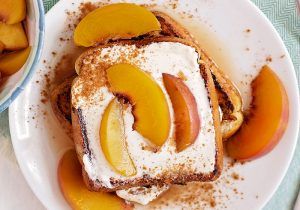 Peaches and Cream Bourbon French Toast