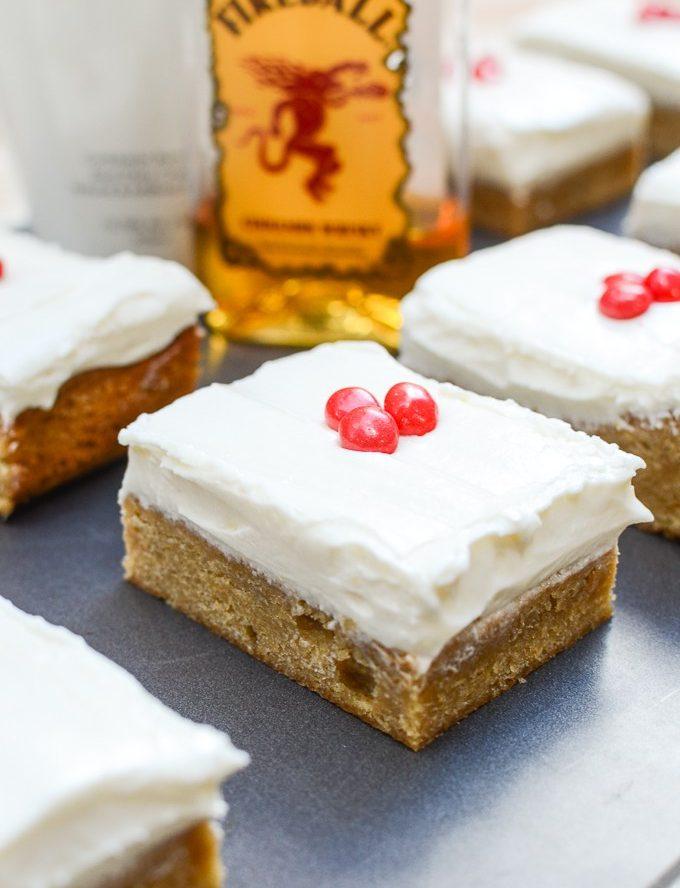 Rumchata Blondies with Fireball Cream Cheese Frosting