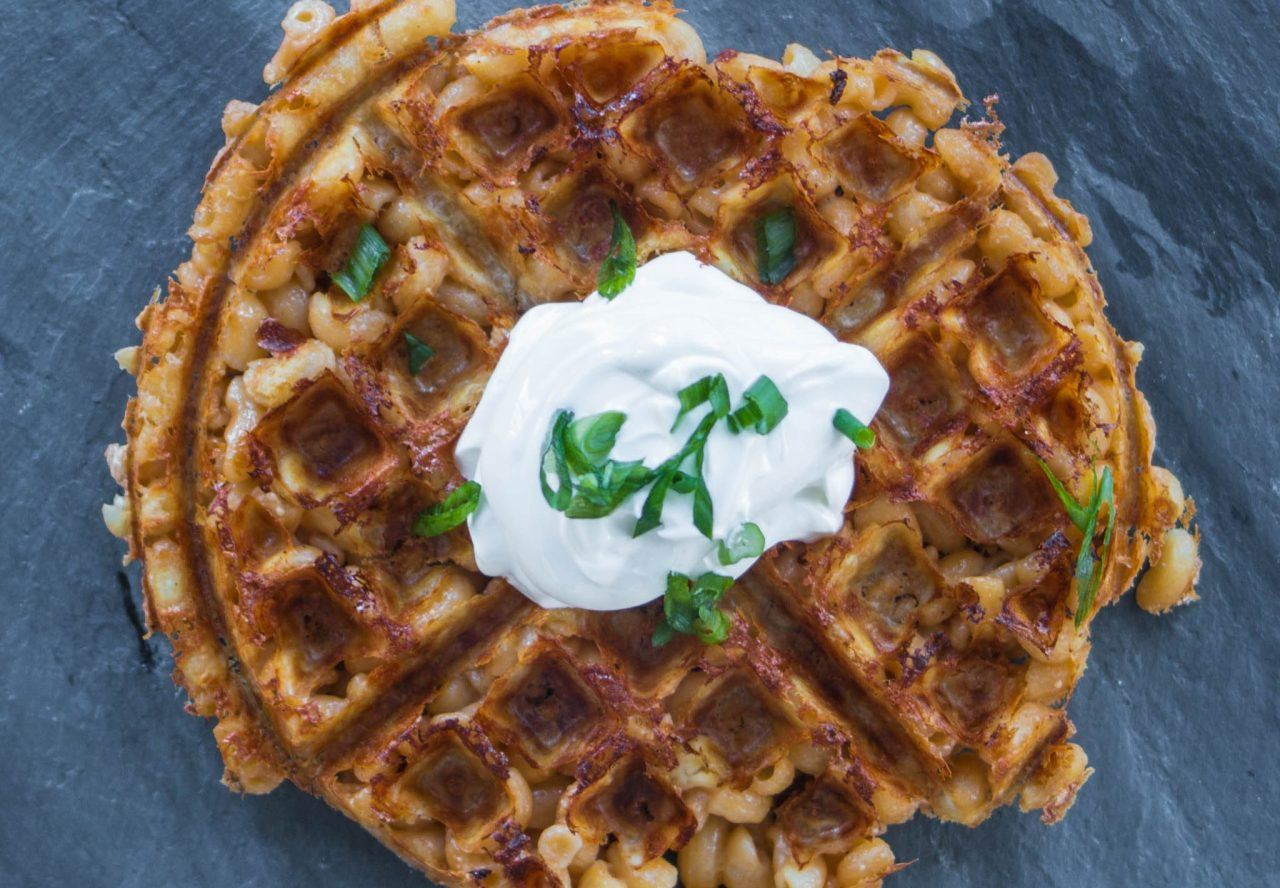 Beer Mac and Cheese Waffle