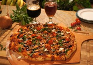 Balsamic Beer Chicken & Caramelized Onion Pizza