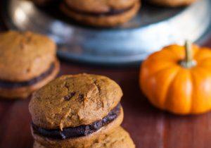 Pumpkin Whoopie Pies with Caramel and Boozy Ganache