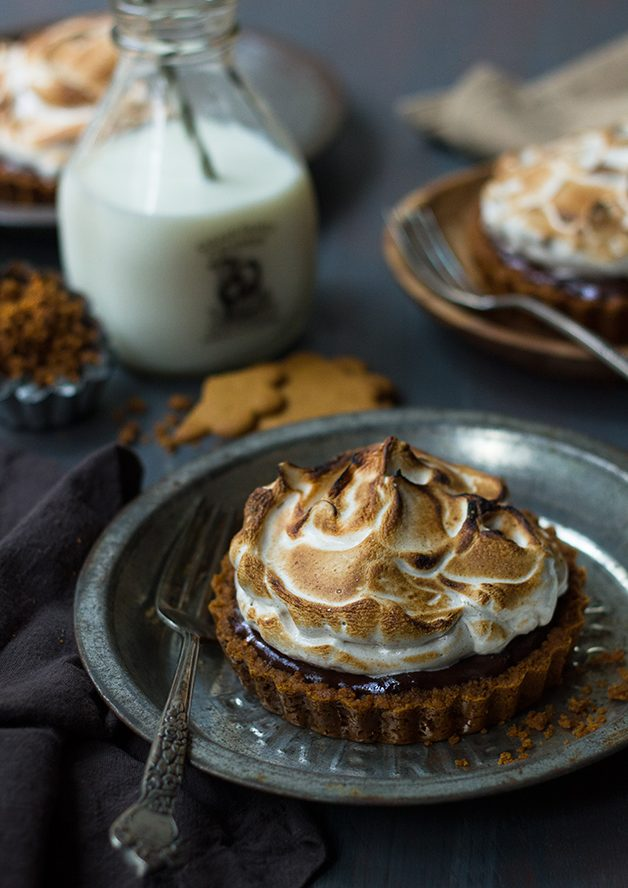 Boozy Chocolate Meringue Tartlets with Gingersnap Crust