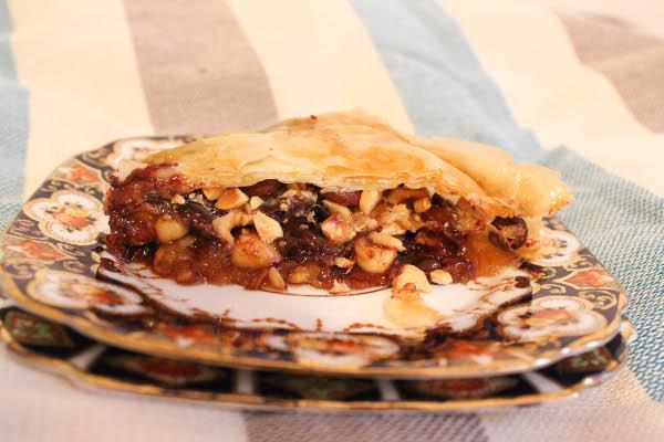 Chocolate Hazelnut Baklava with Orange Bourbon Honey