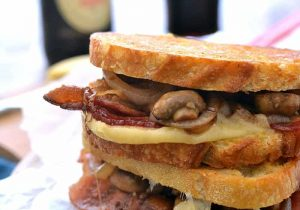 Mushroom Bacon Stout Grilled Cheese